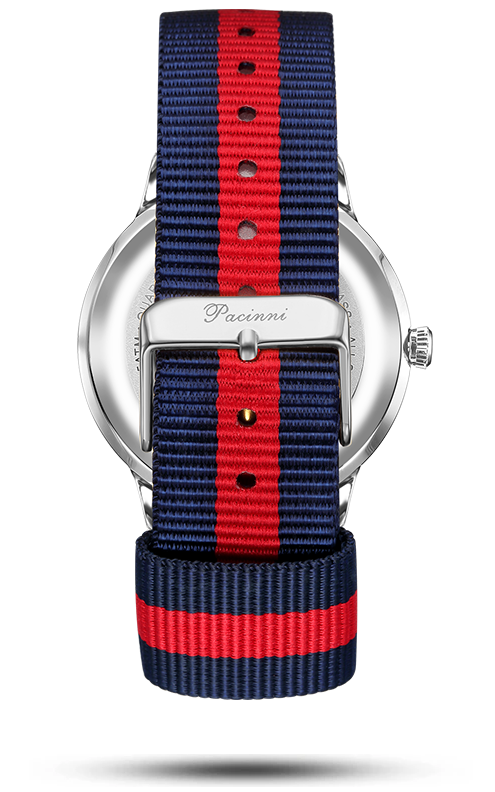 Moonphase Blue Silver - Nato Blue Red