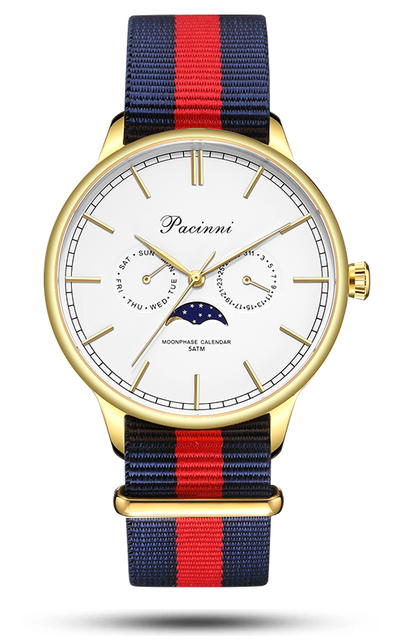 Moonphase White Gold - Nato Blue Red