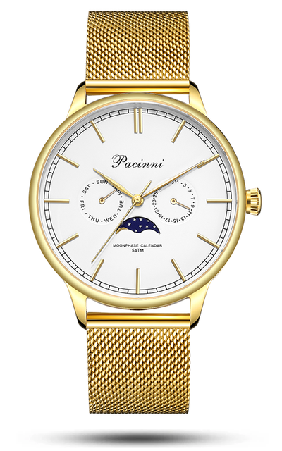 Moonphase White Gold Mesh