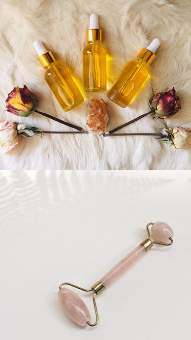 Golden Dawn Serum & Crystal Facial Tool Set