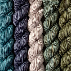 STORM CHASER // Bite-Size Mini Set of 5 // Hand Dyed Yarn