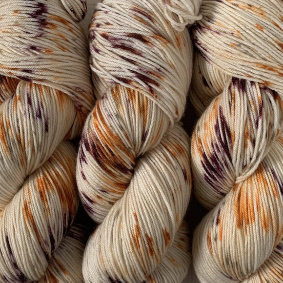 RUM & RAISIN // Hand Dyed Yarn // Speckled Variegated Yarn