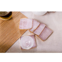 2 PC Set Pink Agate Coaster Gold Inlay Coasters-Eurecah