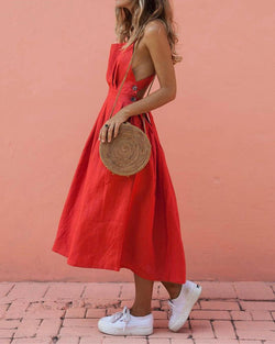 Button Linen Midi Dress