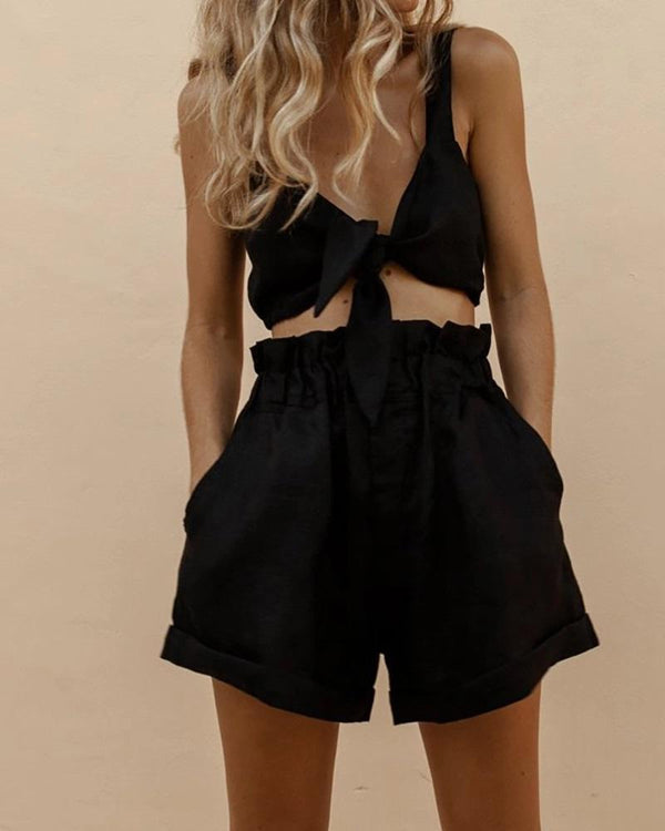 Elastic High Waisted Shorts & Top Set