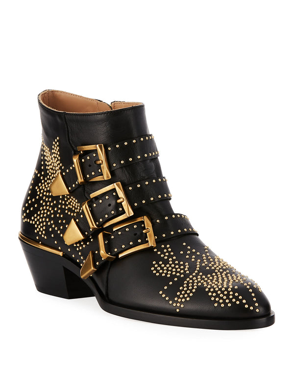 Buckle Rivet Ankle Boots
