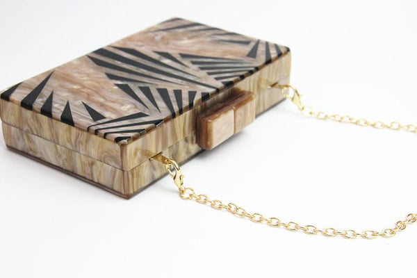 Acrylic Palm Pattern Clutch-Eurecah