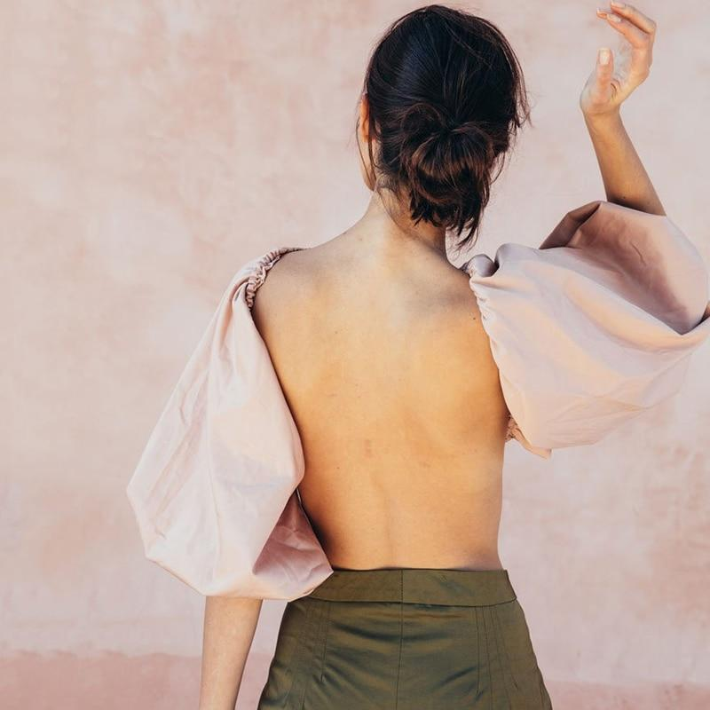 Backless Crop Top with Slash Neck and Lantern Sleeves.-Eurecah