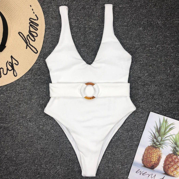 Belted One Piece Swimsuit-Eurecah