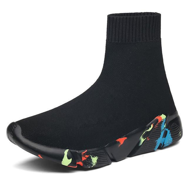 Black Sock Boots Sneakers with Multicolor Sole-Eurecah