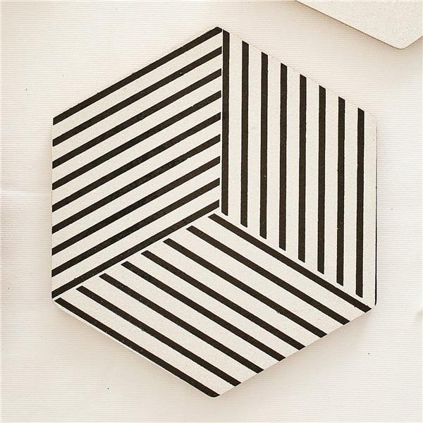 Black White & Wood Hexagonal Coasters-Eurecah