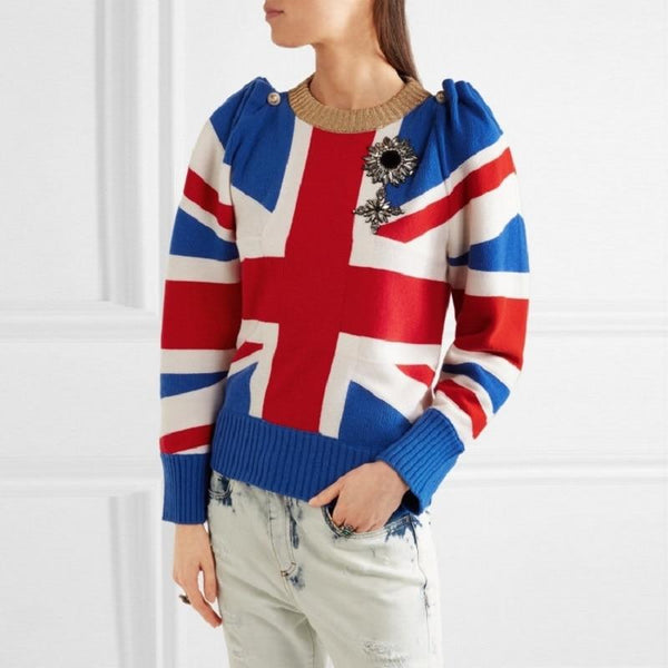 Britain Flag Print Sweater-Eurecah