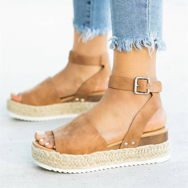 Buckle Platform Wedges-Eurecah