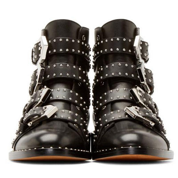 Buckle Rivet Ankle Pointed Toe Boots-Eurecah