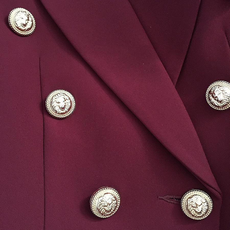 Dark Red Women Fitted Blazer Metal Buttons-Eurecah