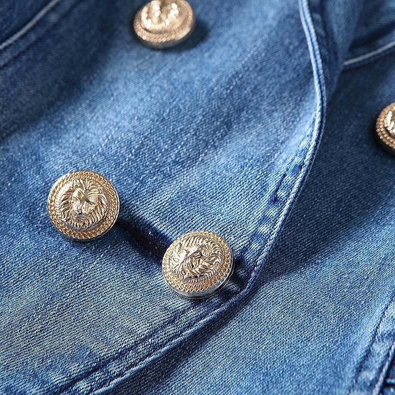 Denim Women Fitted Blazer Metal Buttons-Eurecah