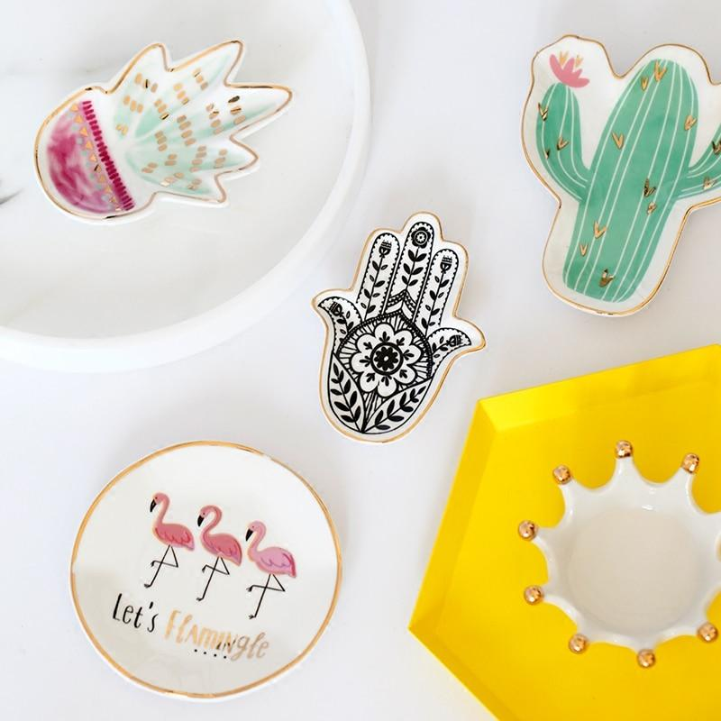 Hamsa Sun Hand Flamingo Cactus Pineapple Ceramic Decor Plates-Eurecah