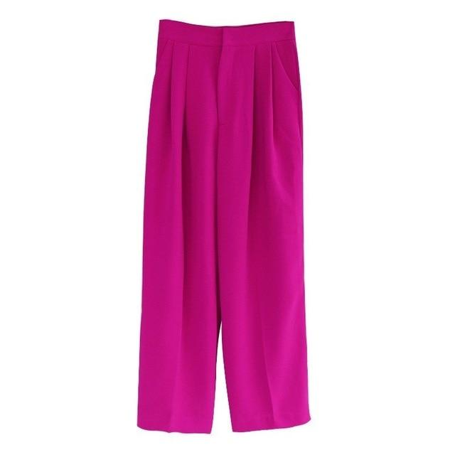 High Waisted Straight Leg Pants-Eurecah