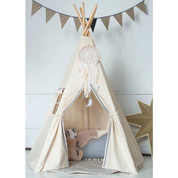 Large Natural Canvas Teepee with Grey Pom Poms-Eurecah