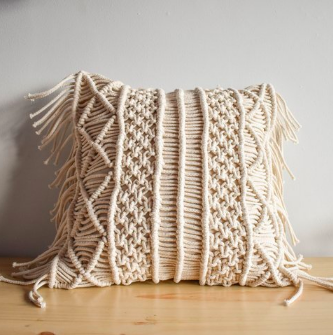 'Lines' Macrame Cushion-Eurecah