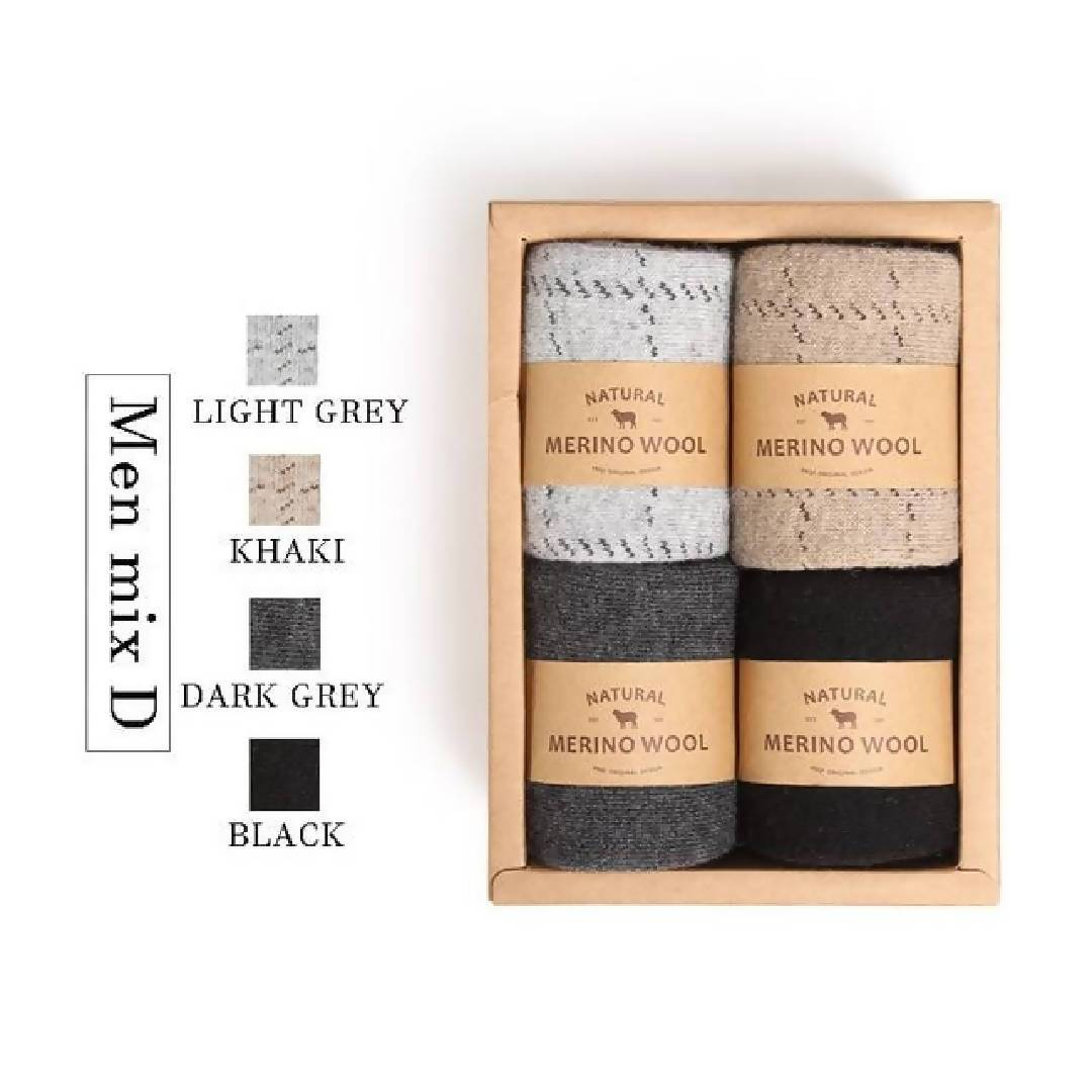 Mens 4 Pack Natural Wool Socks-Eurecah