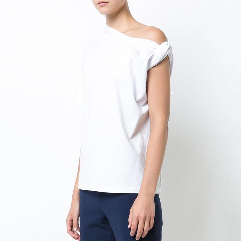 One-Shoulder Twist Short Sleeve Knitted T-Shirt-Eurecah