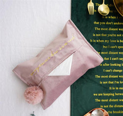 Pink Embroidery Velvet Tissue Storage Bag with Tassel-Eurecah