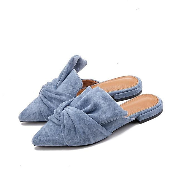 Pointed Toe Bow Slip Ons-Eurecah
