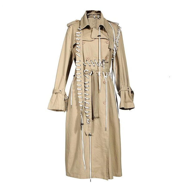 Laced up trench coat