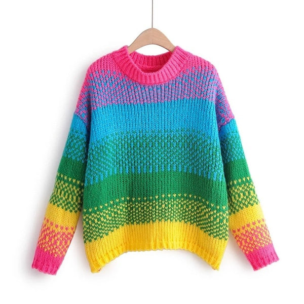 New Colour Rainbow Round Needle Sweater Christmas Shirt for Winter 2019 cute sweater  pullover women  sweater