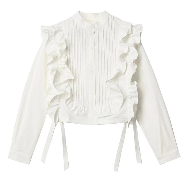 [EAM] Women White Ruffles Ribbon Blouse New Stand Collar Long Sleeve Loose Fit Shirt Fashion Tide Spring Autumn 2019 1K546