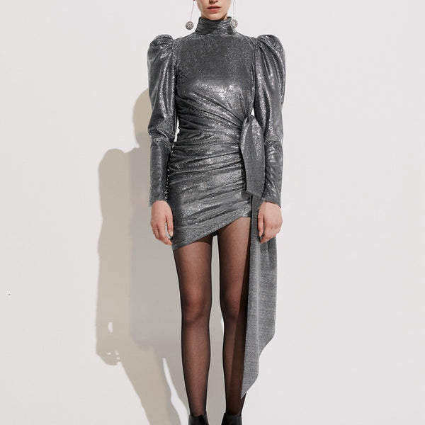 Ruched waist metallic party dress
