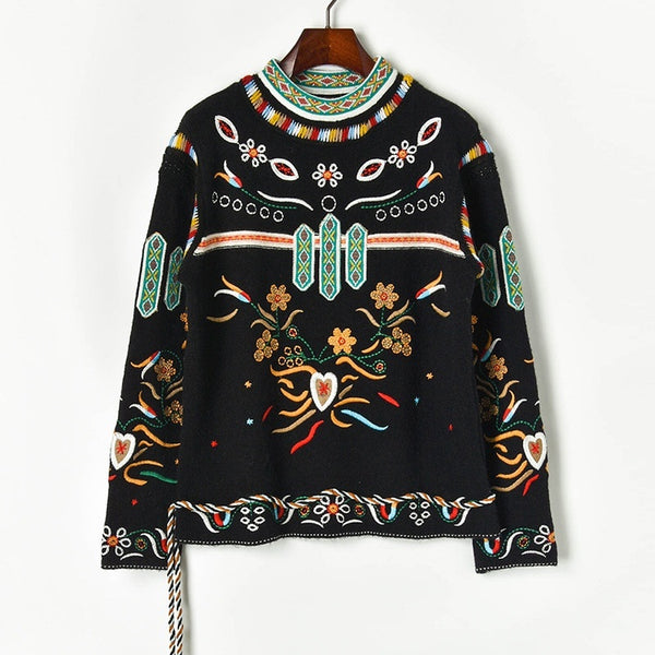 2019 Brands Christmas design Autumn Winter Vintage Embroidery Flowers Love Tie Rope Hem Knit Pullover Sweater