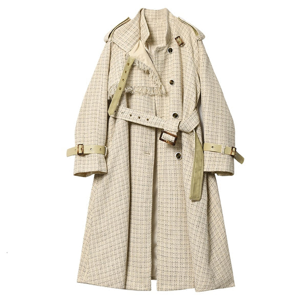 MEVGOHOT 2019 New Woman Plaid Long Coat Plus Size Loose Crop Tassel Fashion Trench Coat Vintage Belt Autumn Winter Coat HD2580