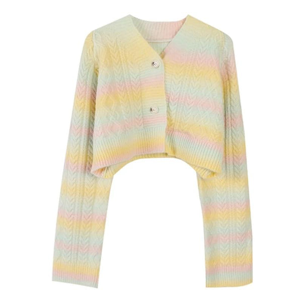 Pastel Rainbow Cropped Sweater