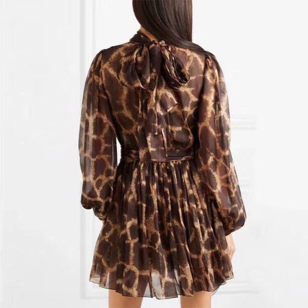 Leopard print turtle neck waistline dress
