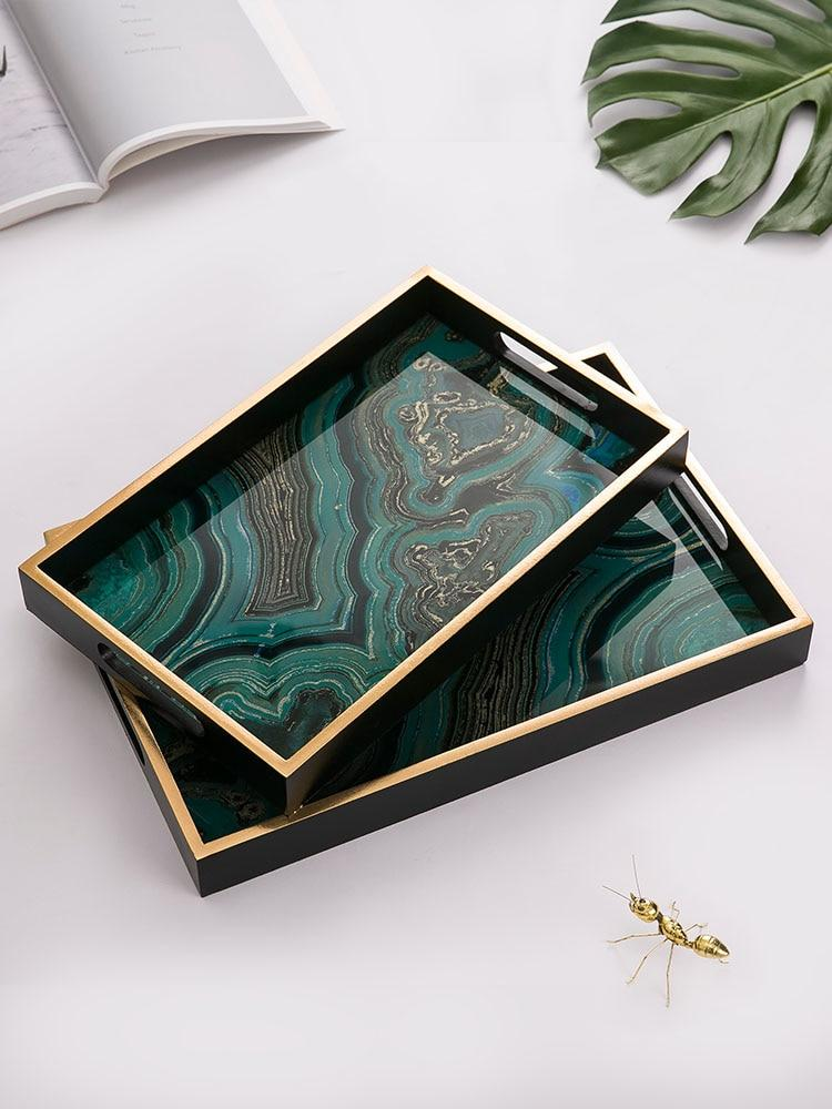 Rectangle Green Agate Tray-Eurecah