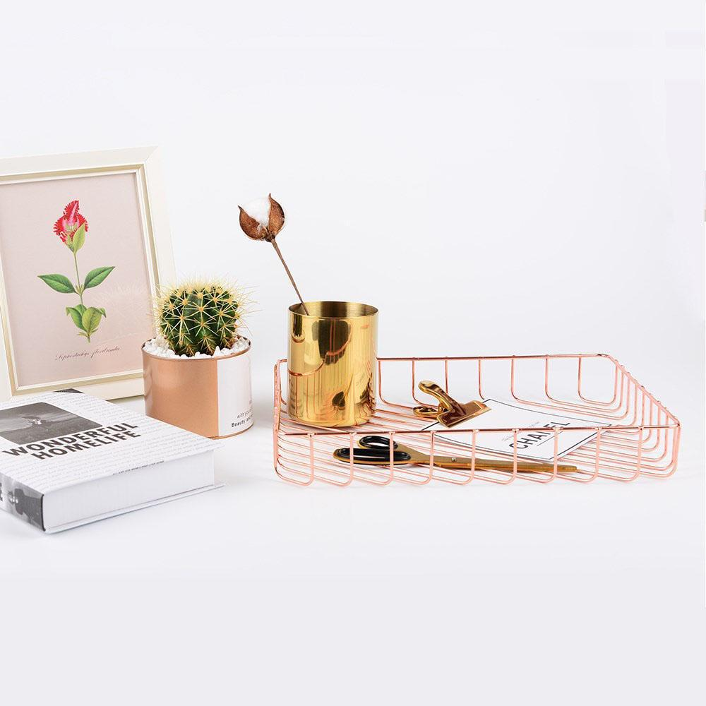 Rose Gold Metal Storage Desk Organizer-Eurecah
