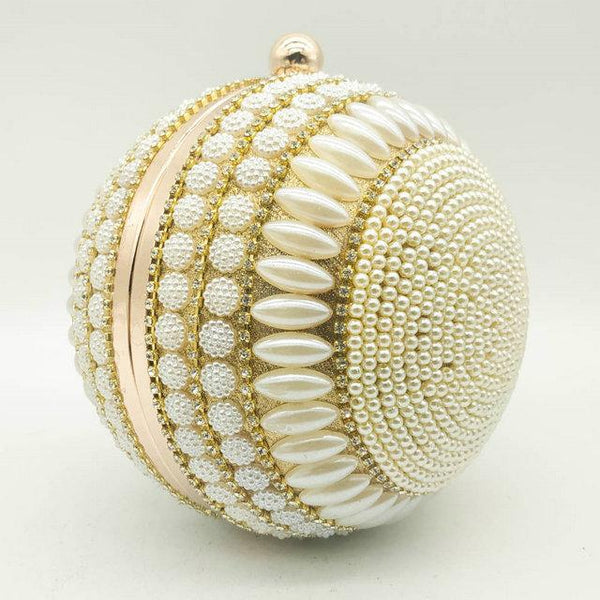 Round Golden Tasseled Crystal Evening Bag-Eurecah
