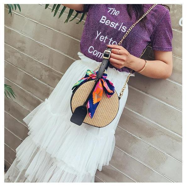 Round Straw Handle Crossbody Bags with Multi Color Bow & Removable Chain