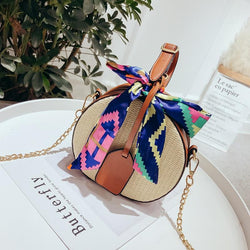 Round Straw Handle Crossbody Bags with Multi Color Bow & Removable Chain-Eurecah