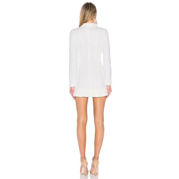 Ruffle White Blazer Dress-Eurecah