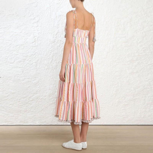 Striped Tassel Maxi Dress-Eurecah