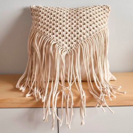 'Triangle' Macrame Cushion-Eurecah