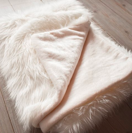White Khloe Faux Fur Throw-Eurecah