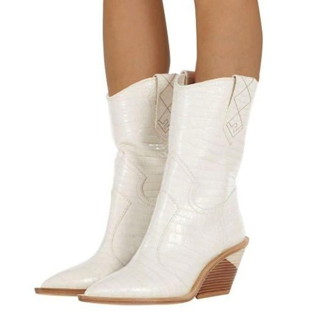 Women Boots Pointed Toe Western Boots-Eurecah