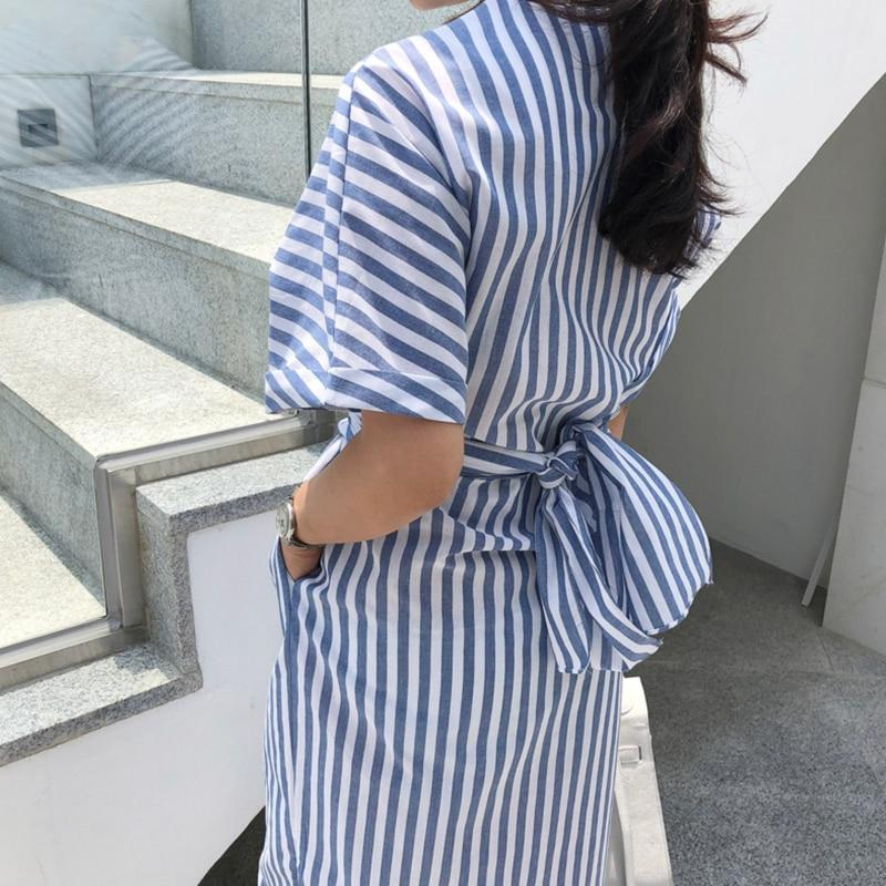 Women Cotton Blue Striped Bandage Split Dress-Eurecah