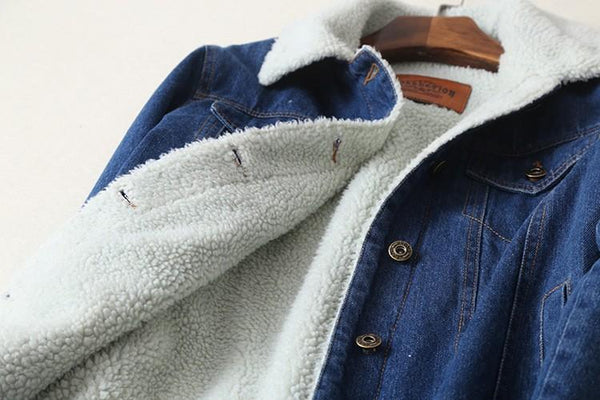 Women Denim Teddy Jacket-Eurecah