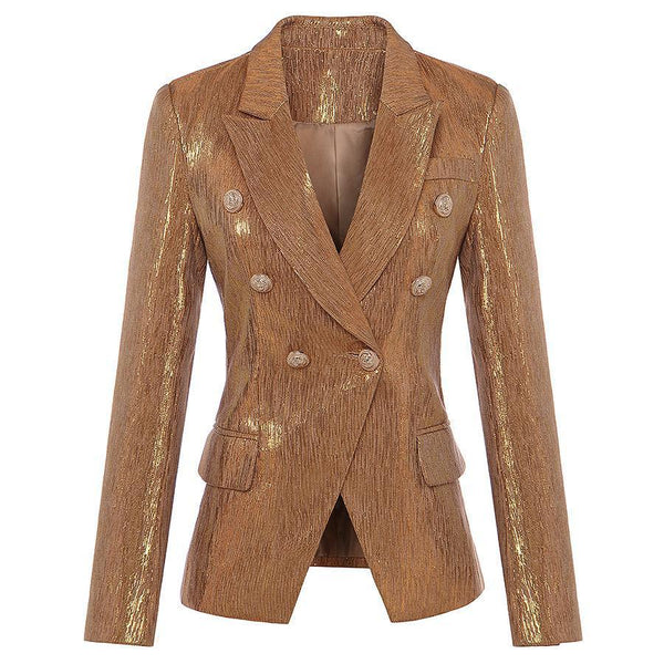 Women Gold Coated Fitted Double Breasted Blazer With Metal Buttons-Eurecah