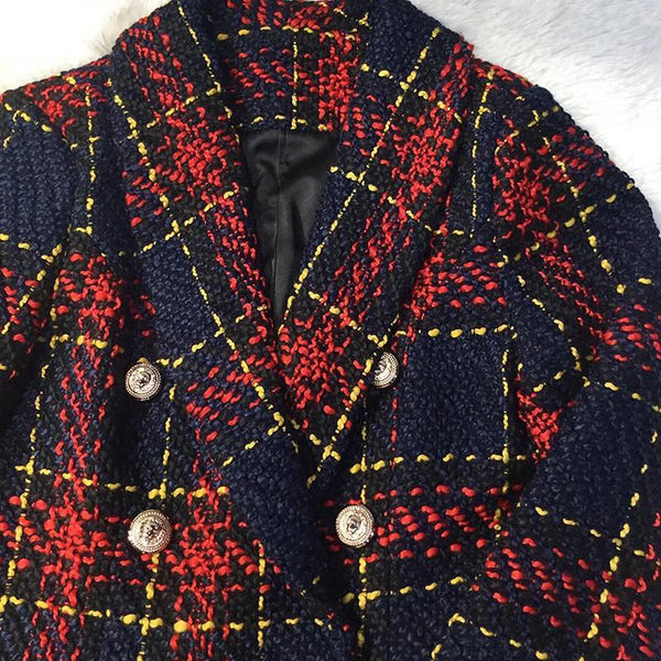 Women Plaid Fitted Double Breasted Blazer With Metal Buttons-Eurecah